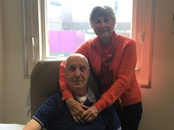 Paul and his wife Lynette, pose for the camera, during treatment.