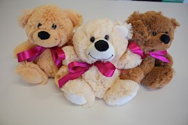 14cm bear with pink bow